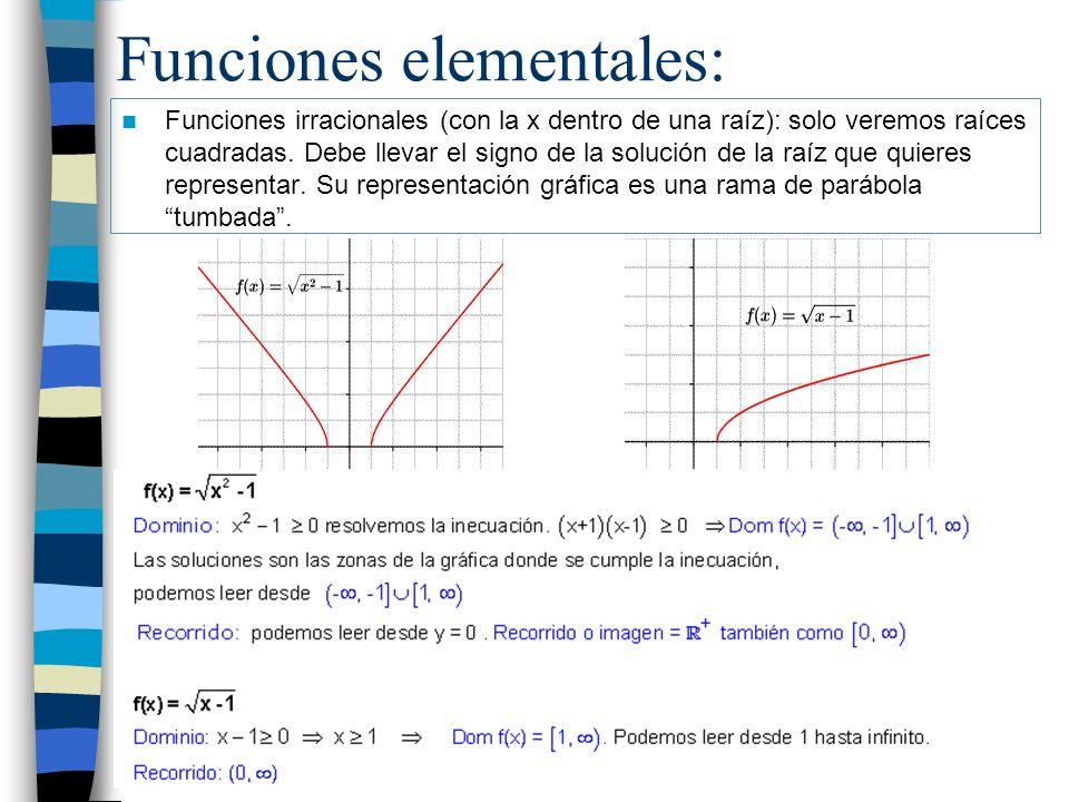 Funciones elementales: Funciones irracionales (con la x dentro de una raíz): solo veremos raíces cuadradas. Debe llevar el signo de la solución de la