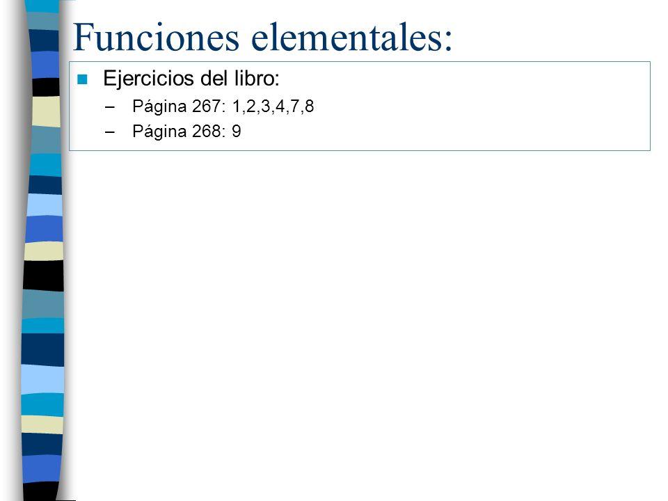 Funciones elementales: Ejercicios del libro: –Página 267: 1,2,3,4,7,8 –Página 268: 9