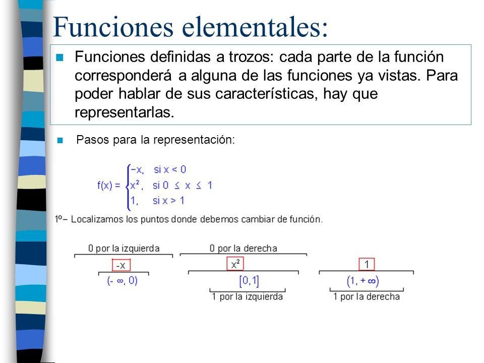 Funciones elementales: Funciones definidas a trozos: cada parte de la función corresponderá a alguna de las funciones ya vistas. Para poder hablar de