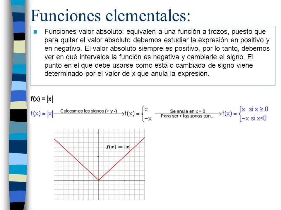 Funciones elementales: Funciones valor absoluto: equivalen a una función a trozos, puesto que para quitar el valor absoluto debemos estudiar la expres