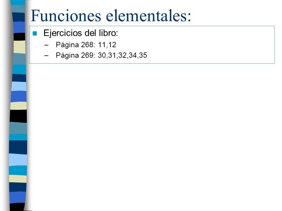 Funciones elementales: Ejercicios del libro: –Página 268: 11,12 –Página 269: 30,31,32,34,35