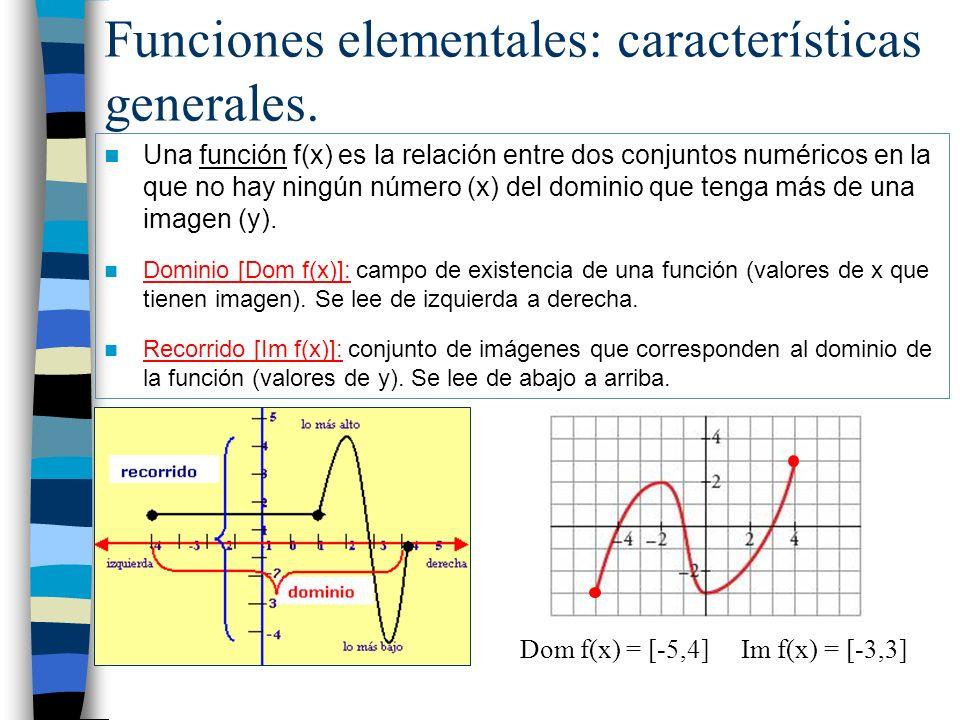 Funciones elementales: características generales. Una función f(x) es la relación entre dos conjuntos numéricos en la que no hay ningún número (x) del