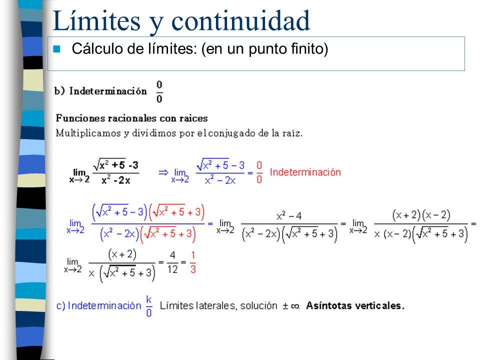 Límites y continuidad Cálculo de límites: (en un punto finito)