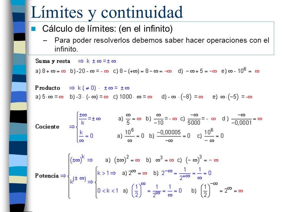 Límites y continuidad Cálculo de límites: (en el infinito) –Para poder resolverlos debemos saber hacer operaciones con el infinito.