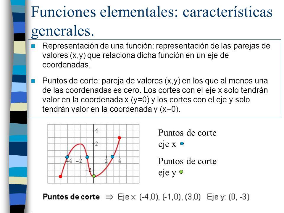 Funciones elementales: características generales. Representación de una función: representación de las parejas de valores (x,y) que relaciona dicha fu
