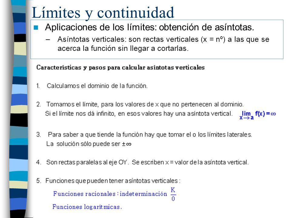 Límites y continuidad Aplicaciones de los límites: obtención de asíntotas. –Asíntotas verticales: son rectas verticales (x = nº) a las que se acerca l
