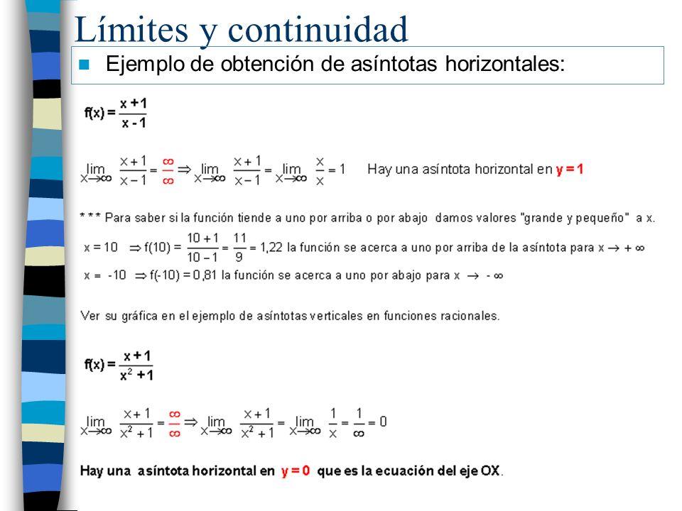 Límites y continuidad Ejemplo de obtención de asíntotas horizontales: