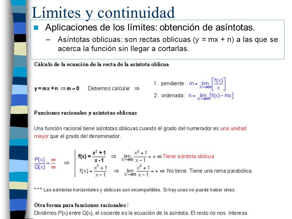 Límites y continuidad Aplicaciones de los límites: obtención de asíntotas. –Asíntotas oblicuas: son rectas oblicuas (y = mx + n) a las que se acerca l