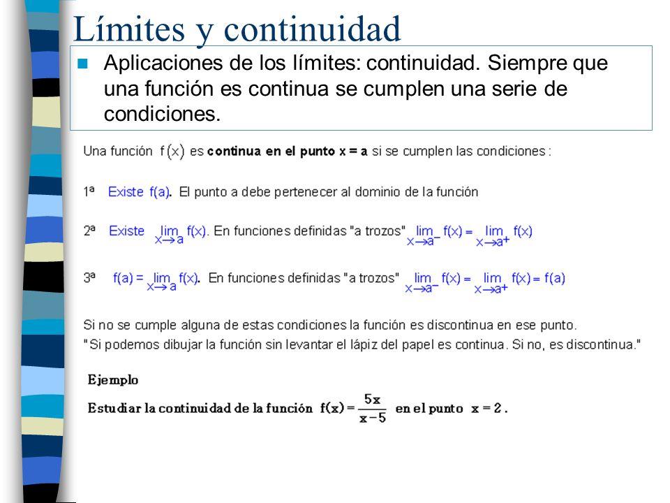 Límites y continuidad Aplicaciones de los límites: continuidad. Siempre que una función es continua se cumplen una serie de condiciones.