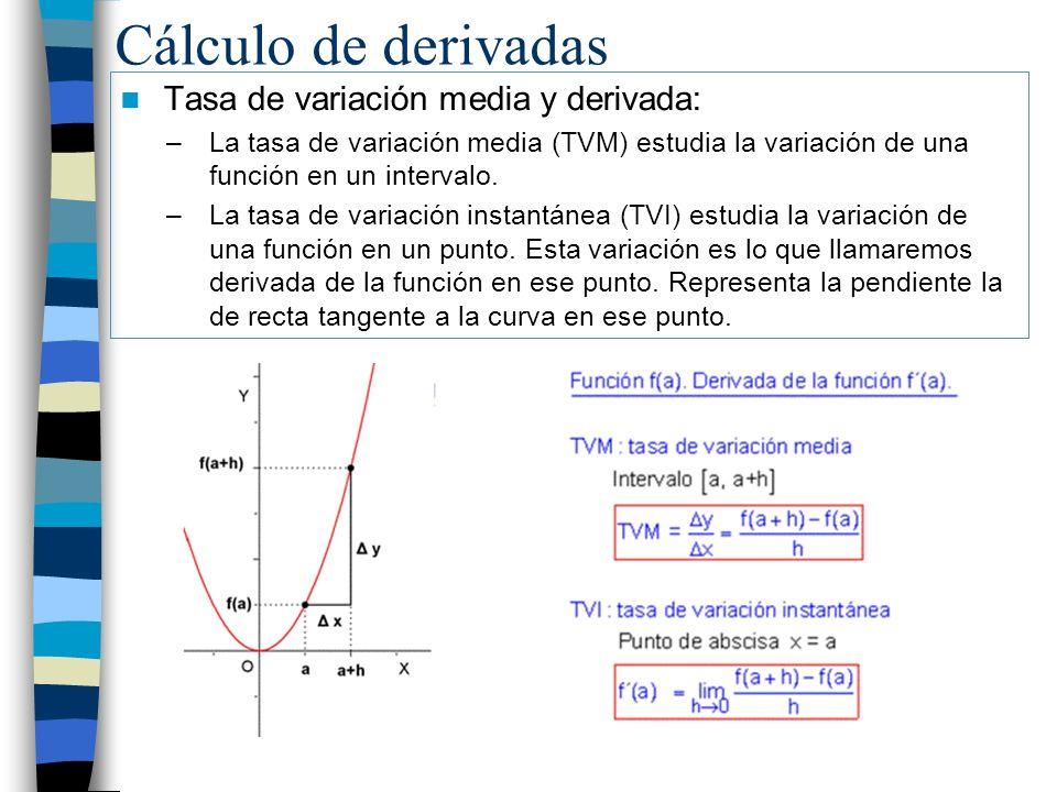 Cálculo de derivadas Tasa de variación media y derivada: –La tasa de variación media (TVM) estudia la variación de una función en un intervalo. –La ta