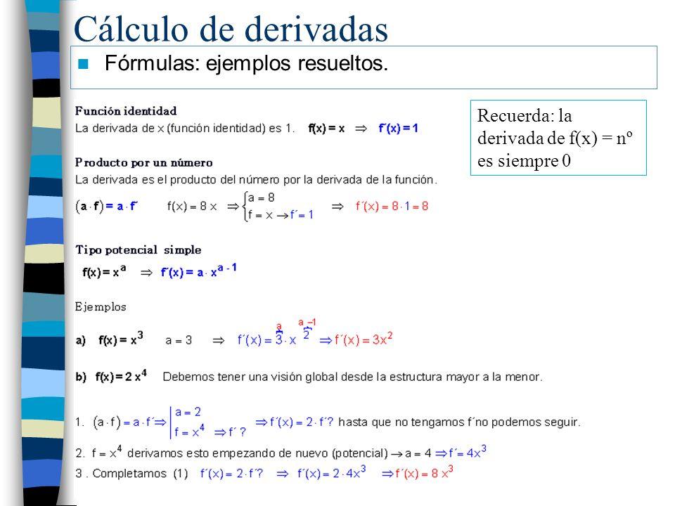 Cálculo de derivadas Fórmulas: ejemplos resueltos. Recuerda: la derivada de f(x) = nº es siempre 0