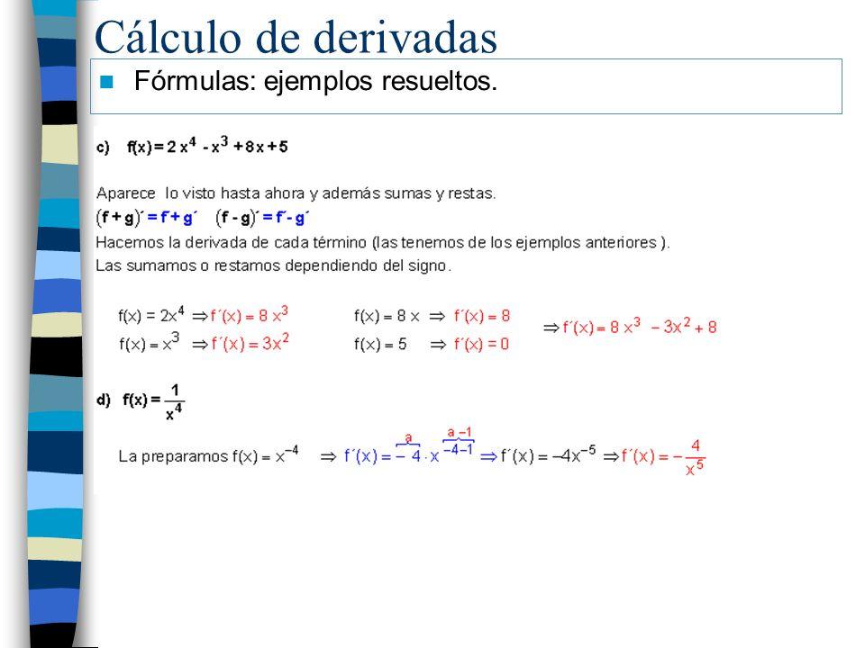 Cálculo de derivadas Fórmulas: ejemplos resueltos.