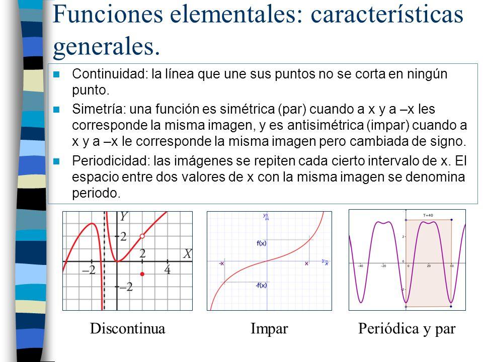 Funciones elementales: características generales. Continuidad: la línea que une sus puntos no se corta en ningún punto. Simetría: una función es simét