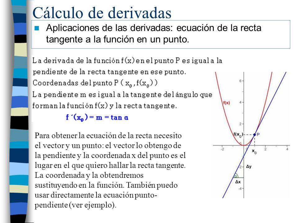 Cálculo de derivadas Aplicaciones de las derivadas: ecuación de la recta tangente a la función en un punto. Para obtener la ecuación de la recta neces
