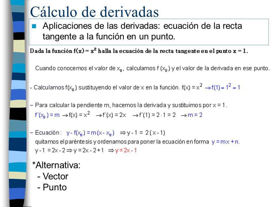 Cálculo de derivadas Aplicaciones de las derivadas: ecuación de la recta tangente a la función en un punto. *Alternativa: - Vector - Punto