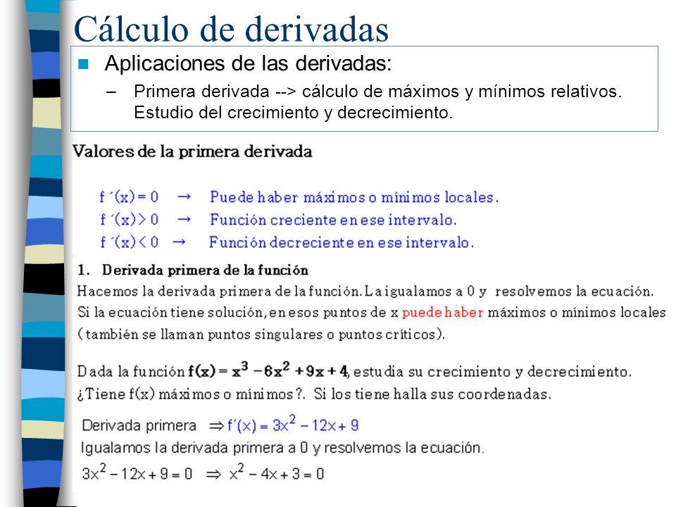 Cálculo de derivadas Aplicaciones de las derivadas: –Primera derivada --> cálculo de máximos y mínimos relativos. Estudio del crecimiento y decrecimie