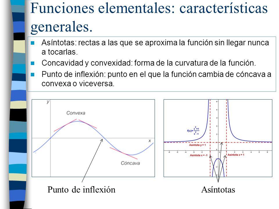 Funciones elementales: características generales. Asíntotas: rectas a las que se aproxima la función sin llegar nunca a tocarlas. Concavidad y convexi