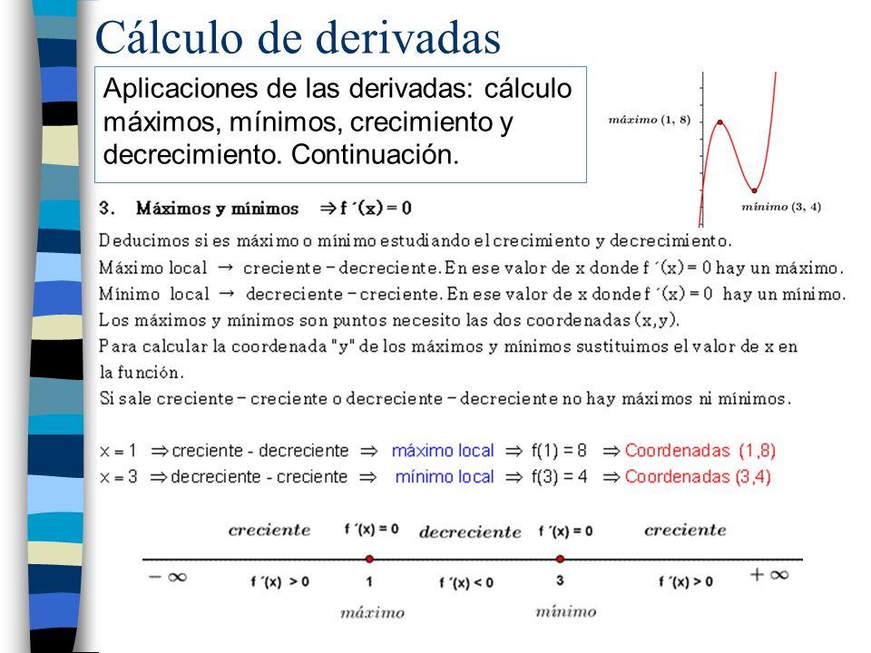 Cálculo de derivadas Aplicaciones de las derivadas: cálculo máximos, mínimos, crecimiento y decrecimiento. Continuación.