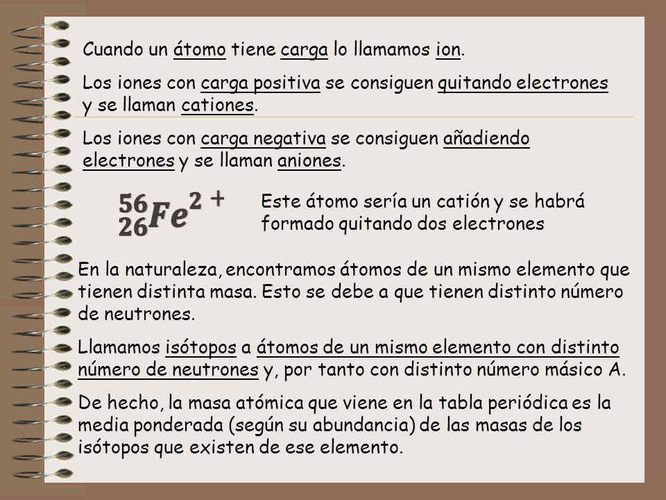 Cuando un átomo tiene carga lo llamamos ion. Los iones con carga positiva se consiguen quitando electrones y se llaman cationes. Los iones con carga n