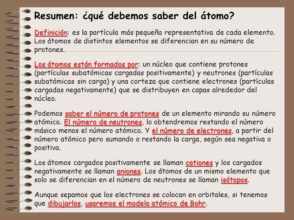 Resumen: ¿qué debemos saber del átomo? Definición Definición: es la partícula más pequeña representativa de cada elemento. Los átomos de distintos ele