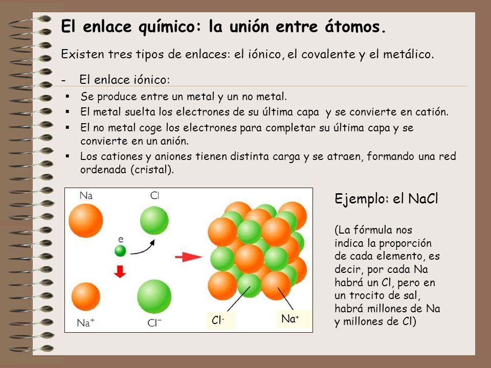El enlace químico: la unión entre átomos. Existen tres tipos de enlaces: el iónico, el covalente y el metálico. -El enlace iónico: Se produce entre un