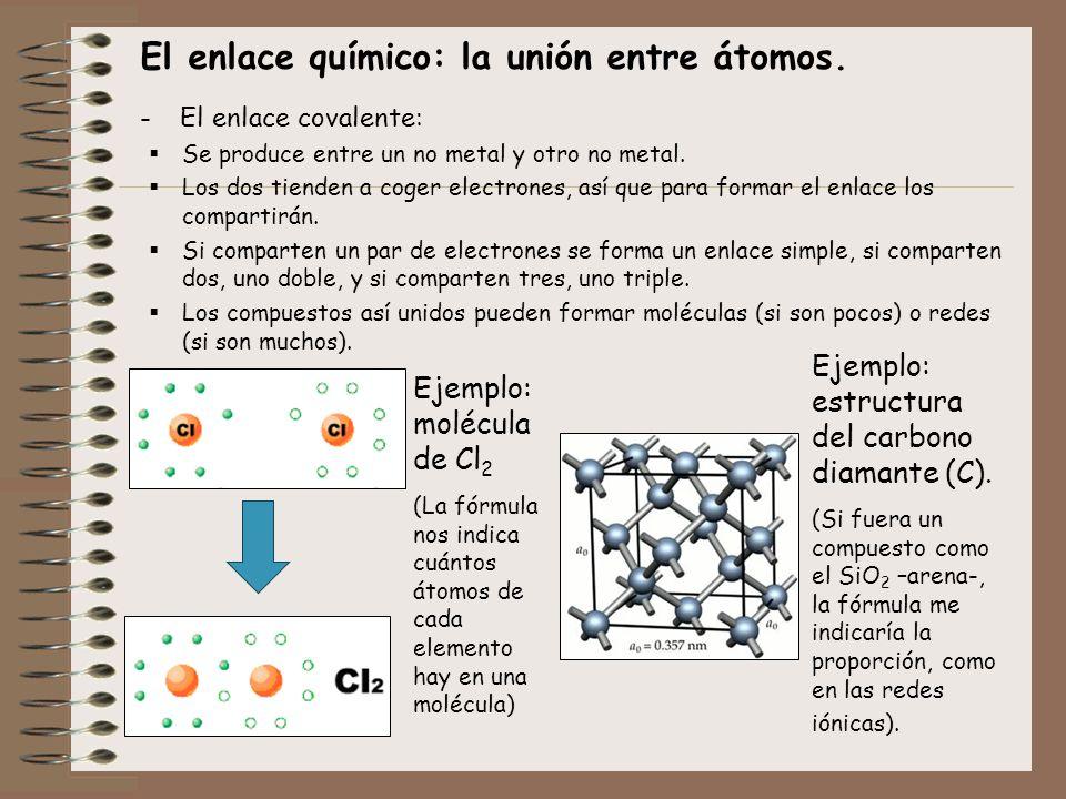 El enlace químico: la unión entre átomos. -El enlace covalente: Se produce entre un no metal y otro no metal. Los dos tienden a coger electrones, así