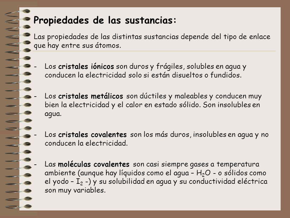 Propiedades de las sustancias: Las propiedades de las distintas sustancias depende del tipo de enlace que hay entre sus átomos. -Los cristales iónicos