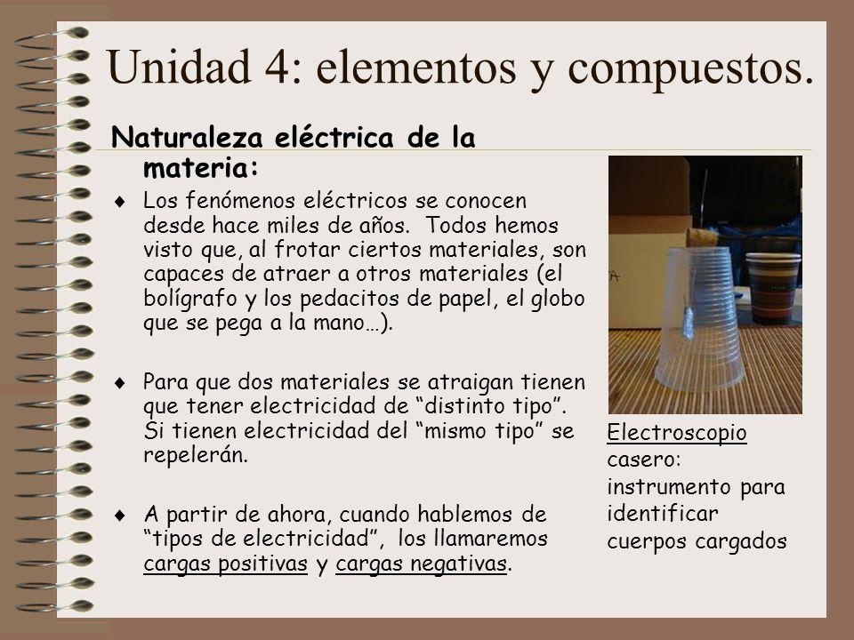 Unidad 4: elementos y compuestos. Naturaleza eléctrica de la materia: Los fenómenos eléctricos se conocen desde hace miles de años. Todos hemos visto