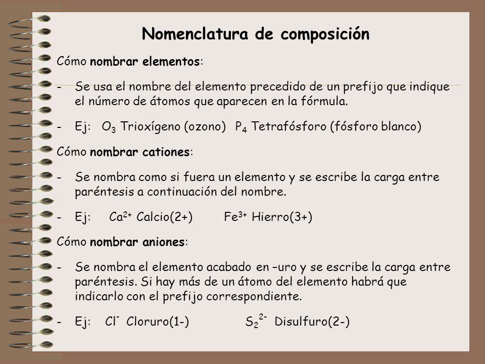 Nomenclatura de composición Cómo nombrar elementos: -Se usa el nombre del elemento precedido de un prefijo que indique el número de átomos que aparece