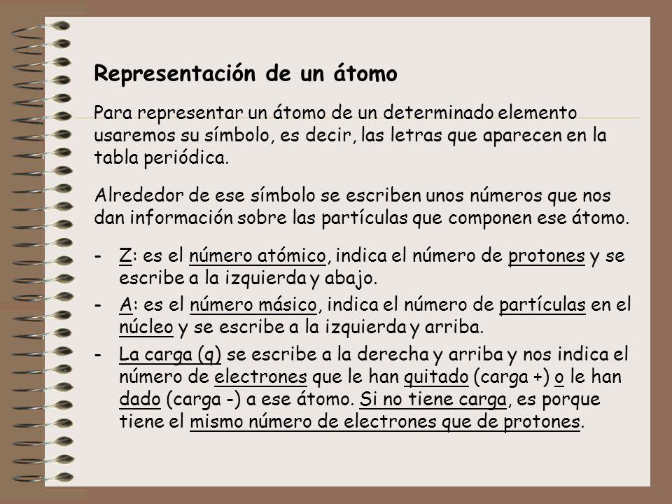 Representación de un átomo Para representar un átomo de un determinado elemento usaremos su símbolo, es decir, las letras que aparecen en la tabla per