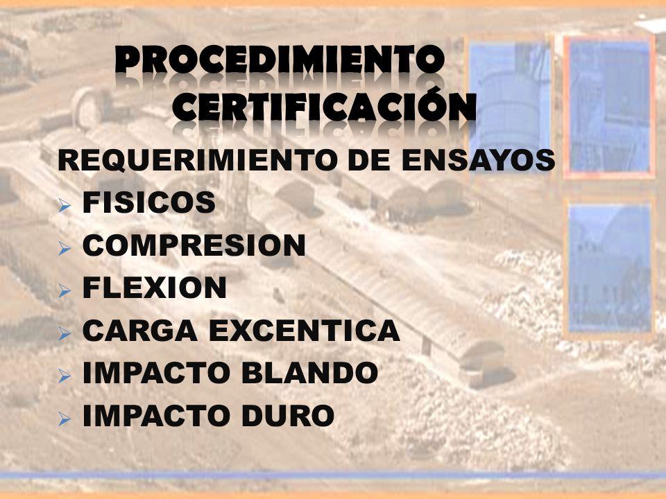 REQUERIMIENTO DE ENSAYOS FISICOS COMPRESION FLEXION CARGA EXCENTICA IMPACTO BLANDO IMPACTO DURO