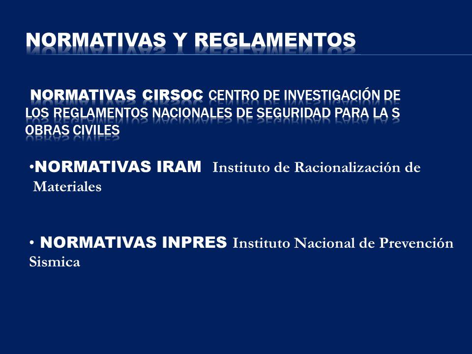 NORMATIVAS IRAM Instituto de Racionalización de Materiales NORMATIVAS INPRES Instituto Nacional de Prevención Sismica
