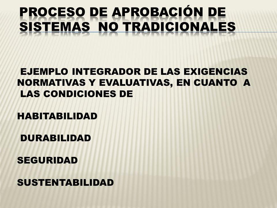 EJEMPLO INTEGRADOR DE LAS EXIGENCIAS NORMATIVAS Y EVALUATIVAS, EN CUANTO A LAS CONDICIONES DE HABITABILIDAD DURABILIDAD SEGURIDAD SUSTENTABILIDAD