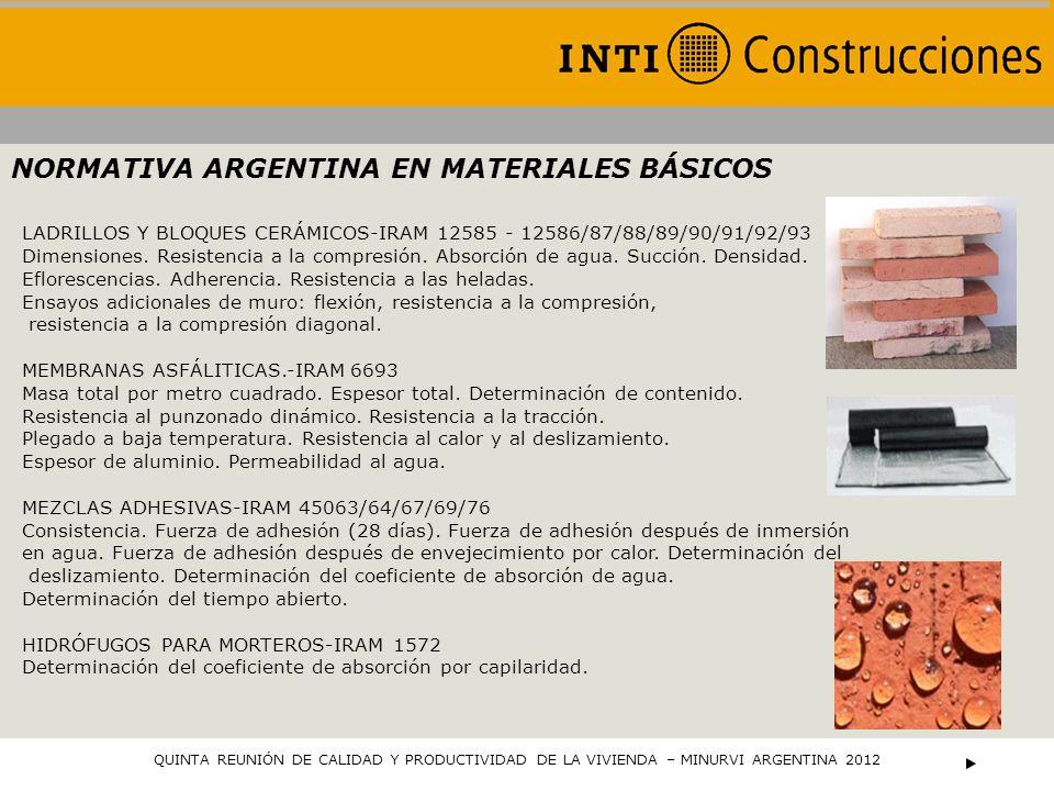 LADRILLOS Y BLOQUES CERÁMICOS-IRAM 12585 - 12586/87/88/89/90/91/92/93 Dimensiones. Resistencia a la compresión. Absorción de agua. Succión. Densidad.
