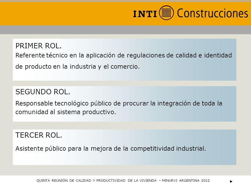 PRIMER ROL. Referente técnico en la aplicación de regulaciones de calidad e identidad de producto en la industria y el comercio. SEGUNDO ROL. Responsa