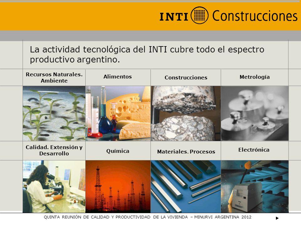 La actividad tecnológica del INTI cubre todo el espectro productivo argentino. Recursos Naturales. Ambiente Alimentos Construcciones Metrología Calida