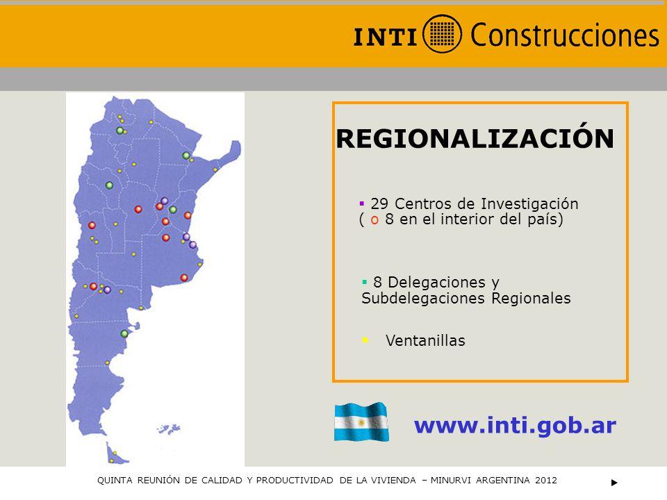 29 Centros de Investigación ( o 8 en el interior del país) REGIONALIZACIÓN www.inti.gob.ar 8 Delegaciones y Subdelegaciones Regionales Ventanillas QUI