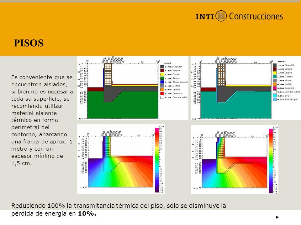 PISOS Es conveniente que se encuentren aislados, si bien no es necesaria toda su superficie, se recomienda utilizar material aislante térmico en forma