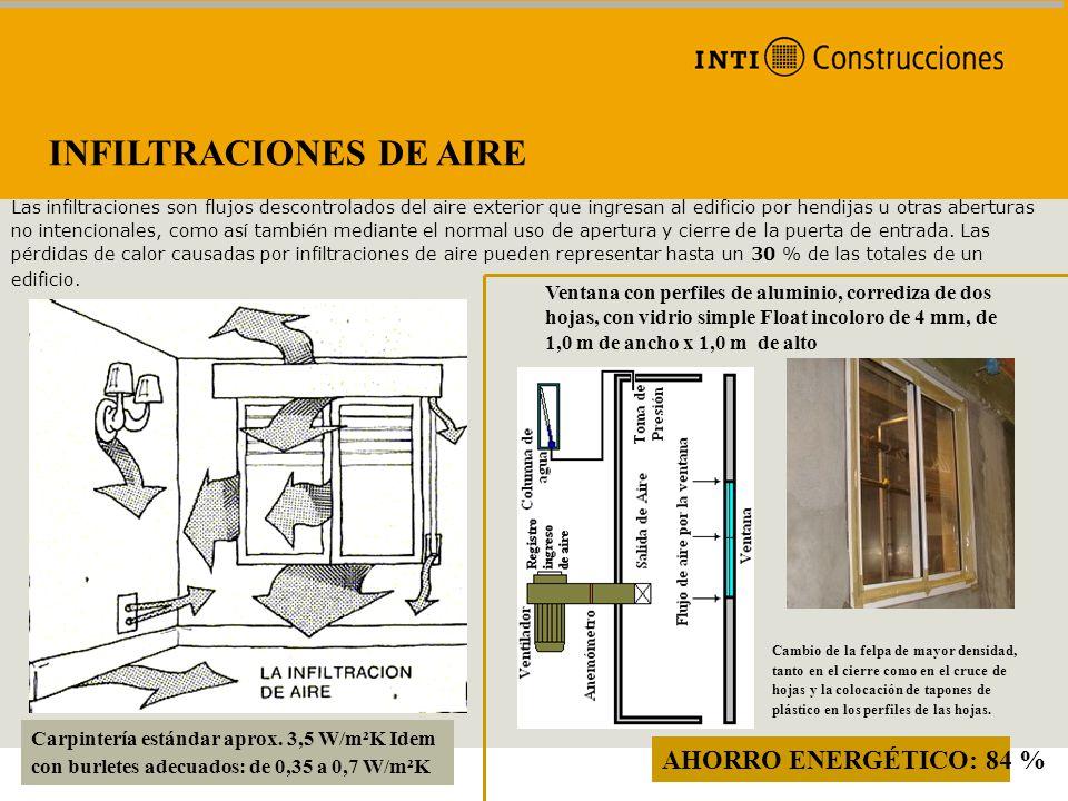 INFILTRACIONES DE AIRE Las infiltraciones son flujos descontrolados del aire exterior que ingresan al edificio por hendijas u otras aberturas no inten