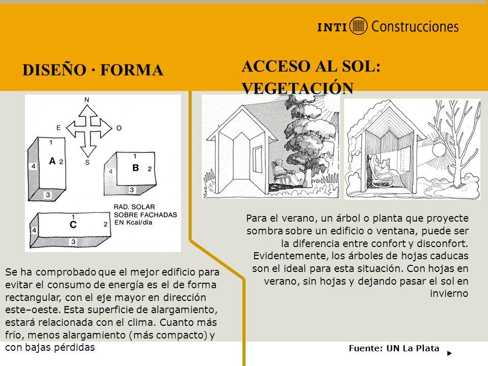 DISEÑO · FORMA Fuente: UN La Plata ACCESO AL SOL: VEGETACIÓN Para el verano, un árbol o planta que proyecte sombra sobre un edificio o ventana, puede