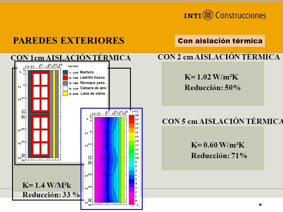 PAREDES EXTERIORES Con aislación térmica K= 1.4 W/M²k Reducción: 33 % CON 1cm AISLACIÓN TÉRMICA CON 2 cm AISLACIÓN TÉRMICA K= 1.02 W/m²K Reducción: 50