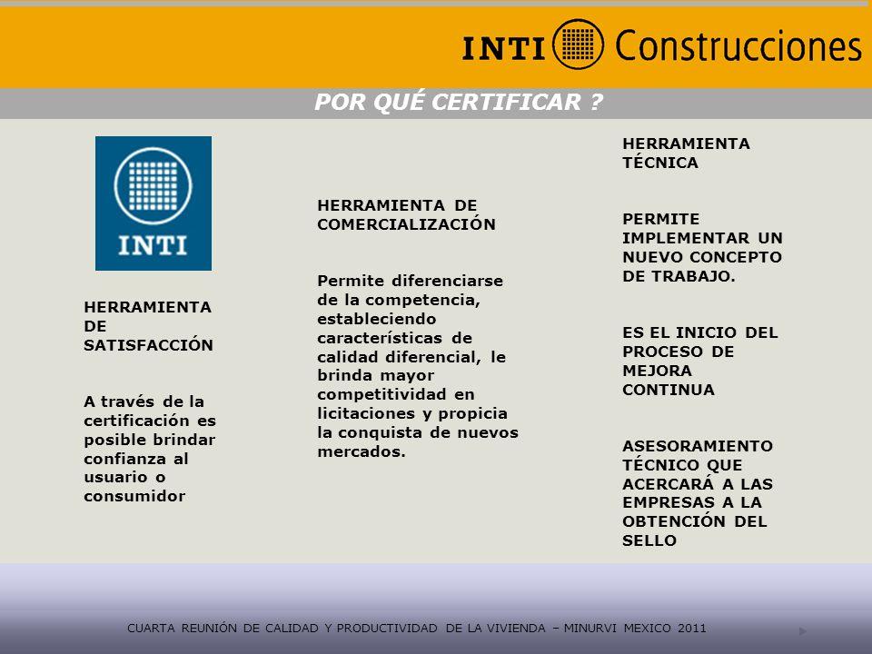 Reglamento Técnico En proceso de modificación http://www.inti.gov.ar/certificaciones/index.html CUARTA REUNIÓN DE CALIDAD Y PRODUCTIVIDAD DE LA VIVIENDA – MINURVI MEXICO 2011