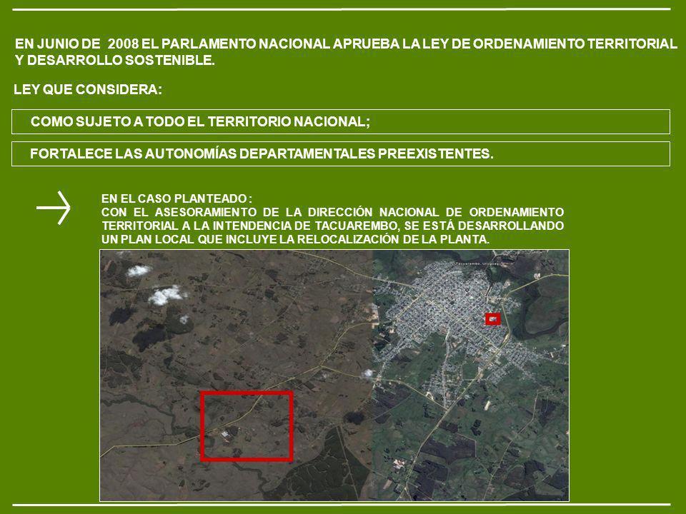 EN JUNIO DE 2008 EL PARLAMENTO NACIONAL APRUEBA LA LEY DE ORDENAMIENTO TERRITORIAL Y DESARROLLO SOSTENIBLE.