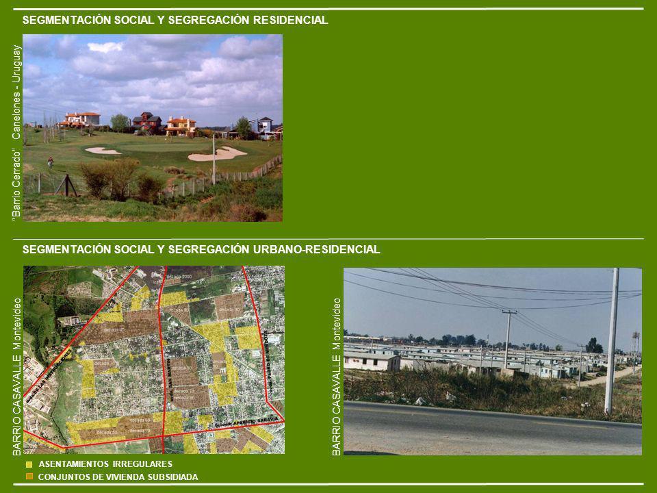 SEGMENTACIÓN SOCIAL Y SEGREGACIÓN RESIDENCIAL SEGMENTACIÓN SOCIAL Y SEGREGACIÓN URBANO-RESIDENCIAL BARRIO CASAVALLE Montevideo Barrio Cerrado Canelones - Uruguay ASENTAMIENTOS IRREGULARES CONJUNTOS DE VIVIENDA SUBSIDIADA