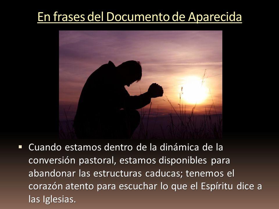 En frases del Documento de Aparecida Cuando estamos dentro de la dinámica de la conversión pastoral, estamos disponibles para abandonar las estructura