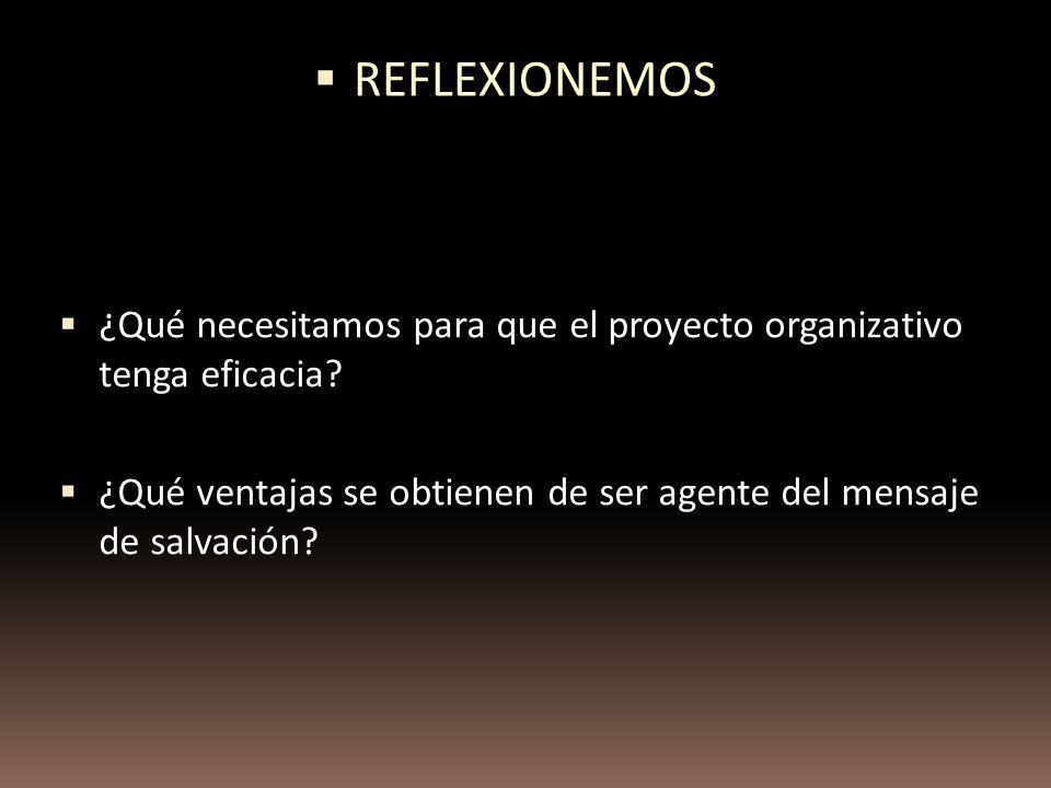 ¿Qué necesitamos para que el proyecto organizativo tenga eficacia? ¿Qué necesitamos para que el proyecto organizativo tenga eficacia? ¿Qué ventajas se