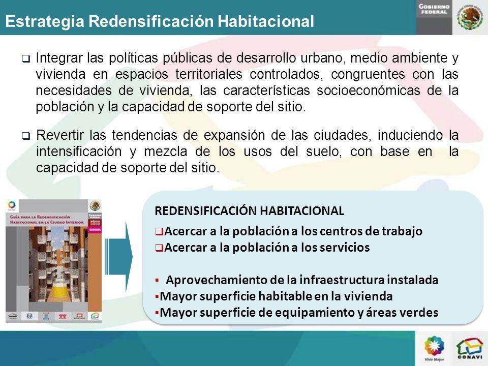 Aprovechamiento de vacantes urbanas o zonas subutilizadas: con ventajas de localización; con infraestructura y servicios Redesarrollo: Reutilización del espacio urbano cuando termina la vida económica del edificio o ya no es funcional Redensificación Urbana / Líneas de acción