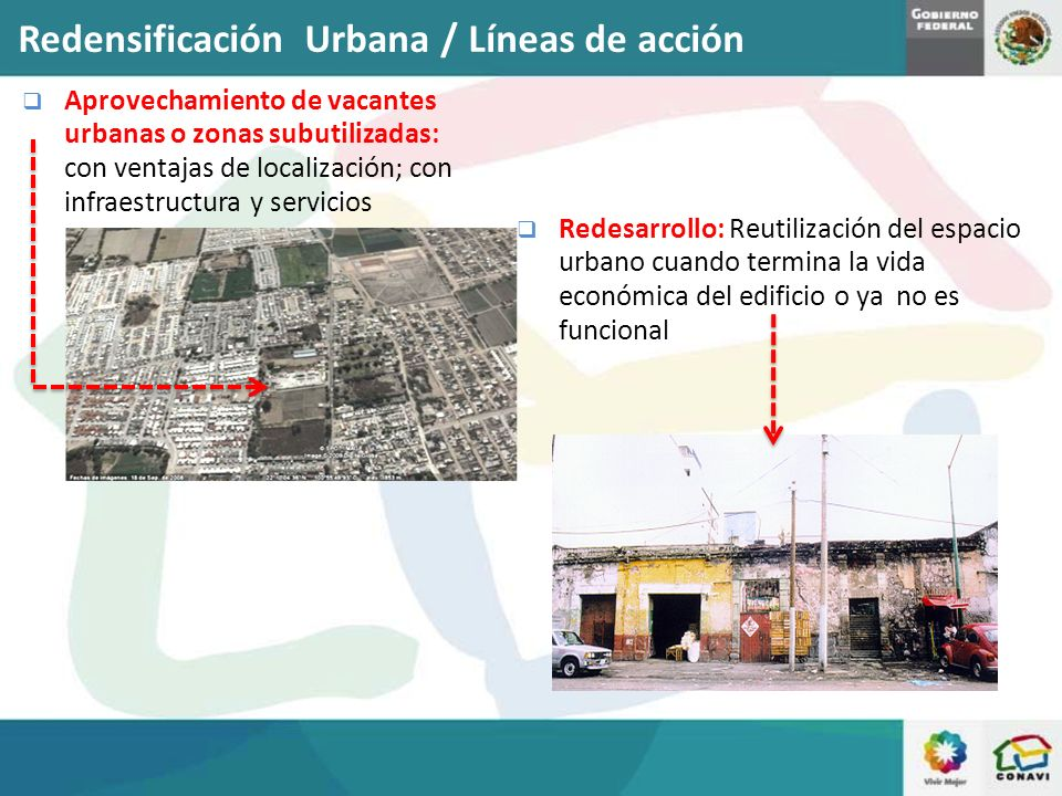 Aprovechamiento de vacantes urbanas o zonas subutilizadas: con ventajas de localización; con infraestructura y servicios Redesarrollo: Reutilización d