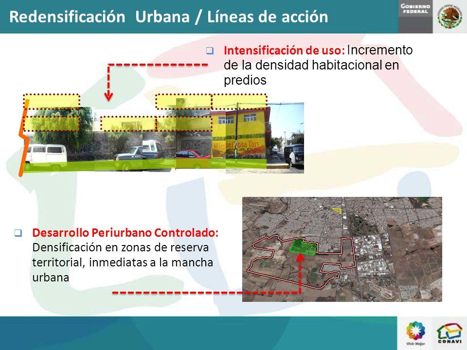 Intensificación de uso: Incremento de la densidad habitacional en predios Desarrollo Periurbano Controlado: Densificación en zonas de reserva territor