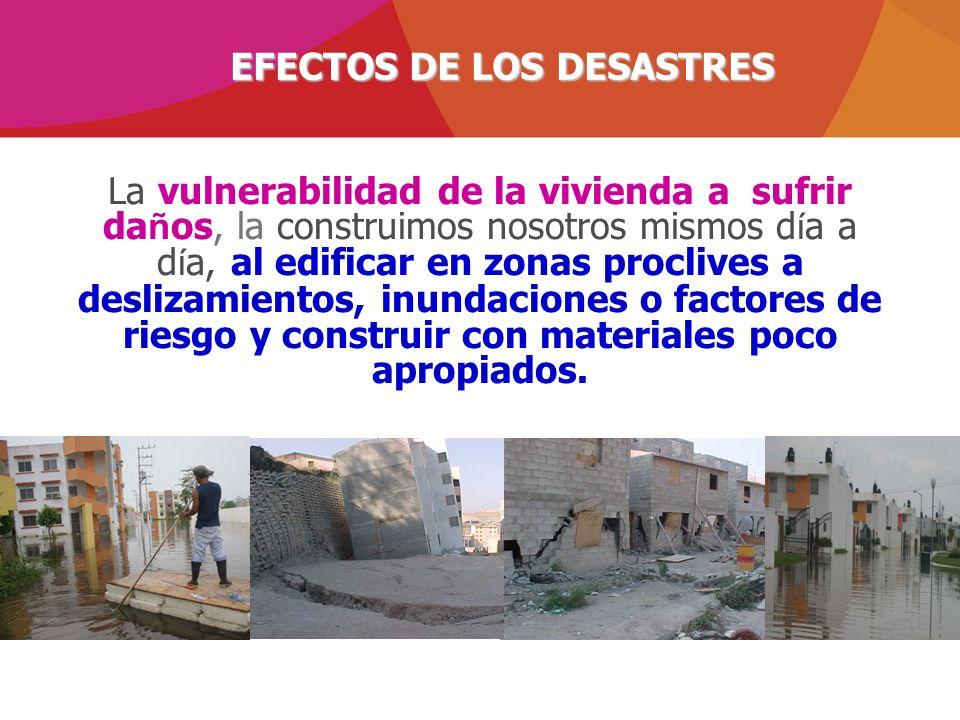 La vulnerabilidad de la vivienda a sufrir da ñ os, la construimos nosotros mismos d í a a d í a, al edificar en zonas proclives a deslizamientos, inun